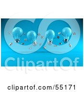 Royalty Free RF Clipart Illustration Of A Row Of Blue 3d Glass Light Bulb Characters Leaping Version 1