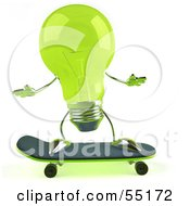 Royalty Free RF Clipart Illustration Of A Green 3d Glass Light Bulb Character Skateboarding Version 1