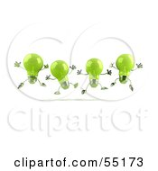 Royalty Free RF Clipart Illustration Of A Row Of Green 3d Glass Light Bulb Characters Leaping Version 2