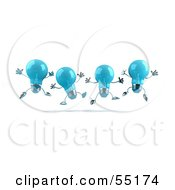 Royalty Free RF Clipart Illustration Of A Row Of Blue 3d Glass Light Bulb Characters Leaping Version 2
