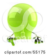 Royalty Free RF Clipart Illustration Of A Green 3d Glass Light Bulb Character Giving The Peace Gesture And Holding A Blank Sign