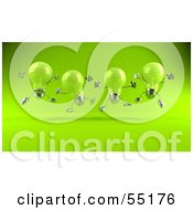 Royalty Free RF Clipart Illustration Of A Row Of Green 3d Glass Light Bulb Characters Leaping Version 1