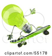 Royalty Free RF Clipart Illustration Of A Green 3d Glass Light Bulb Character Skateboarding Version 3