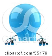 Royalty Free RF Clipart Illustration Of A Blue 3d Glass Light Bulb Character Holding Up A Blank Sign