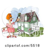 Female Realtor Taking A House Off The Market Clipart Illustration