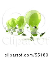 Royalty Free RF Clipart Illustration Of A Line Of Green 3d Glass Light Bulb Characters