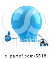 Royalty Free RF Clipart Illustration Of A Blue 3d Glass Light Bulb Character Giving The Thumbs Up And Holding A Blank Sign