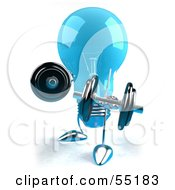Royalty Free RF Clipart Illustration Of A Blue 3d Glass Light Bulb Character Lifting Weights Version 2