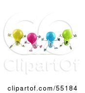 Royalty Free RF Clipart Illustration Of A Row Of Colorful 3d Glass Light Bulb Characters Leaping