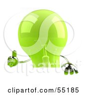 Royalty Free RF Clipart Illustration Of A Green 3d Glass Light Bulb Character Giving The Thumbs Up And Holding A Blank Sign
