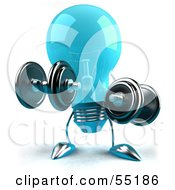 Royalty Free RF Clipart Illustration Of A Blue 3d Glass Light Bulb Character Lifting Weights Version 1