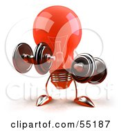 Royalty Free RF Clipart Illustration Of A Red 3d Glass Light Bulb Character Lifting Weights