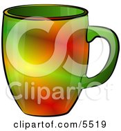Red And Green Colored Coffee Cup Clipart Illustration
