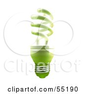 Royalty Free RF Clipart Illustration Of A Green 3d Spiral Light Bulb Version 2 by Julos