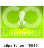 Royalty Free RF Clipart Illustration Of A Green 3d Spiral Light Bulb Version 1 by Julos