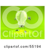 Royalty Free RF Clipart Illustration Of A 3d Glass Light Bulb Character Holding His Arms Out Version 2