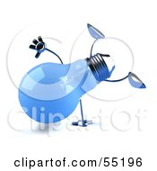 Royalty Free RF Clipart Illustration Of A Blue 3d Glass Light Bulb Character Doing A Cartwheel