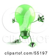 Green 3d Glass Light Bulb Character Holding His Arms Out - Version 3