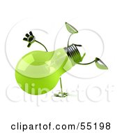 Royalty Free RF Clipart Illustration Of A Green 3d Glass Light Bulb Character Doing A Cartwheel Version 2