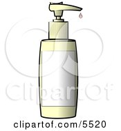 Blank Labeled Plastic Bottle Of Lotion Clipart Illustration
