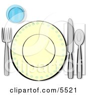 Informal Complete Place Setting For One Clipart Illustration
