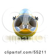 Royalty Free RF Clipart Illustration Of A Blue 3d Glass Light Bulb Character Sitting In A Cocoon Chair Version 1
