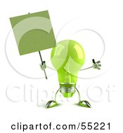 Royalty Free RF Clipart Illustration Of A Green 3d Glass Light Bulb Character Holding A Blank Sign On A Post Version 2 by Julos