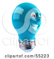 Blue 3d Electric Light Bulb Head Character Smiling - Version 3