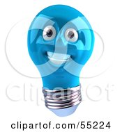 Blue 3d Electric Light Bulb Head Character Smiling - Version 1