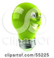 Green 3d Electric Light Bulb Head Character Smiling - Version 4