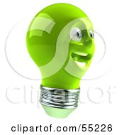 Green 3d Electric Light Bulb Head Character Smiling - Version 5