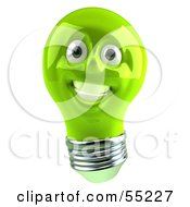 Green 3d Electric Light Bulb Head Character Smiling - Version 1