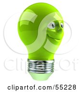 Green 3d Electric Light Bulb Head Character Smiling - Version 6