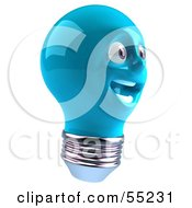 Blue 3d Electric Light Bulb Head Character Smiling - Version 4