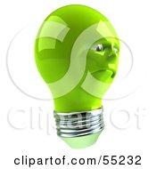 Sad Green 3d Electric Light Bulb Head Character