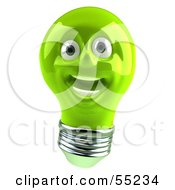 Green 3d Electric Light Bulb Head Character Smiling - Version 2