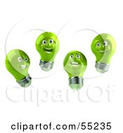 Royalty Free RF Clipart Illustration Of A Group Of Happy Green 3d Electric Light Bulb Head Characters by Julos