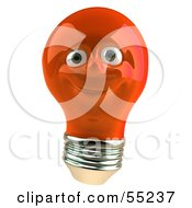 Red 3d Electric Light Bulb Head Character Smiling