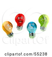 Group Of Happy Colorful 3d Electric Light Bulb Head Characters