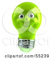 Royalty Free RF Clipart Illustration Of A Green 3d Electric Light Bulb Head Character Smiling Version 3