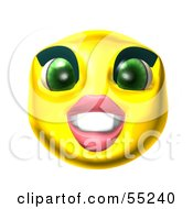 Royalty Free RF Clipart Illustration Of A 3d Yellow Female Smiley Face Grinning by Julos