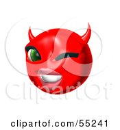 Royalty Free RF Clipart Illustration Of A 3d Red She Devil Emoticon Face Winking