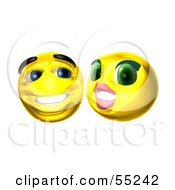 Royalty Free RF Clipart Illustration Of Two Flirting 3d Yellow Smiley Faces