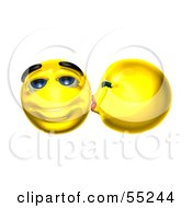 Royalty Free RF Clipart Illustration Of Two Smooching 3d Yellow Smiley Faces by Julos