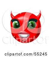 3d Red She Devil Emoticon Face Smiling