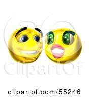Royalty Free RF Clipart Illustration Of Two 3d Yellow Smiley Faces Smiling by Julos