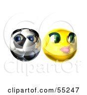 Royalty Free RF Clipart Illustration Of A Shy 3d Soccer Ball Smiley Face Emoticon With A Yellow Female by Julos