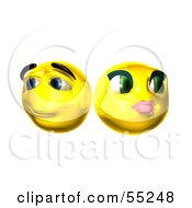 Royalty Free RF Clipart Illustration Of Two Shy 3d Yellow Smiley Faces by Julos
