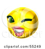 Royalty Free RF Clipart Illustration Of A 3d Yellow Female Smiley Face Winking