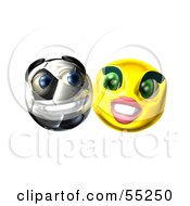 Royalty Free RF Clipart Illustration Of A Confident 3d Soccer Ball Smiley Face Emoticon With A Yellow Female by Julos